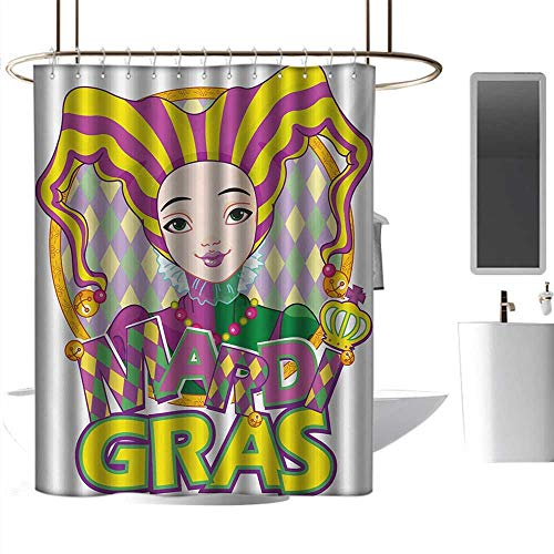 coolteey Shower Curtains Black and red Mardi Gras,Carnival Girl in Harlequin Costume and Hat Cartoon Fat Tuesday Theme,Yellow Purple Green,W55 x L84,Shower Curtain for -