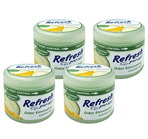 Refresh Scented Gel Can's 4.5 oz Car, Home & Office Air Freshener, Cucumber Melon (Pack of 4) ()