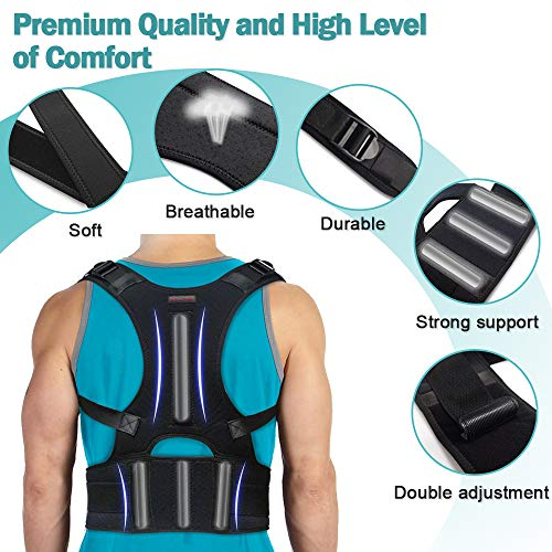Back Brace Posture Corrector - Back Support Belt with Fully Adjustable Straps Relief Lower & Upper Back Pain, Improve Posture & Provides Lumbar Support - Fit for Men & Women L(30''-36''Waist)