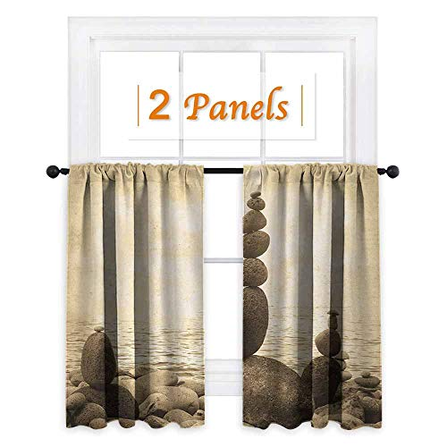 maisi Ocean, Window Curtain Fabric, Coastal Shore Calm Water Zen Print Sepia Big and Small Rocks Pebbles Grunge Artsy, for Boys Room (W72 x L72 Inch) Beige Brown