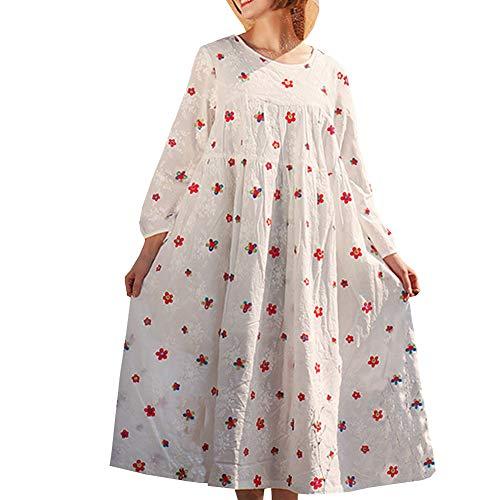 E Lose Leinen Langarm girl Damen Cocktail Q32242 Retro Kleider Maxi Party Kleid Baumwolle Feiertagskleid Weiß 8xr8qXwSY