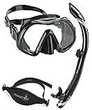 Atomic Venom Dive Mask and SV2 Snorkel Combo (Black / Gray)