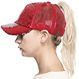 ScarvesMe C.C Magic Sequence Ponytail Cap Messy Buns Trucker Baseball Cap (Red/Silver)