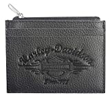 Harley-Davidson Women's Embossed Script Leather Front Pocket Wallet LSE6191-BLK