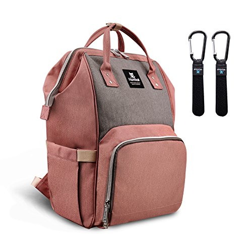Hafmall Diaper Bag Backpack Waterproof Large Capacity Insulation Travel Back Pack Nappy Bags Organizer, Multi-Function, Fashion and Durable (Pink-Gray) ()