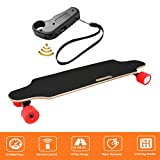 shaofu Electric Skateboard Youth Electric Longboard with Wireless Remote Control, 250W Motor, 20 MPH Top Speed, 10 Miles Range (US Stock) (Red)