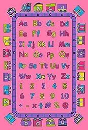 Kids Area Rug Design ABCD Fun Pink (5 Feet X 7 Feet)