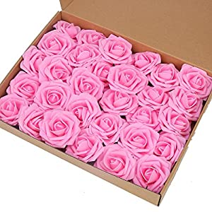 Artificial Flower Rose,Marry Acting 30pcs Real Touch Artificial Roses for DIY Bouquets Wedding Party Baby Shower Home Decor (Pink) 3