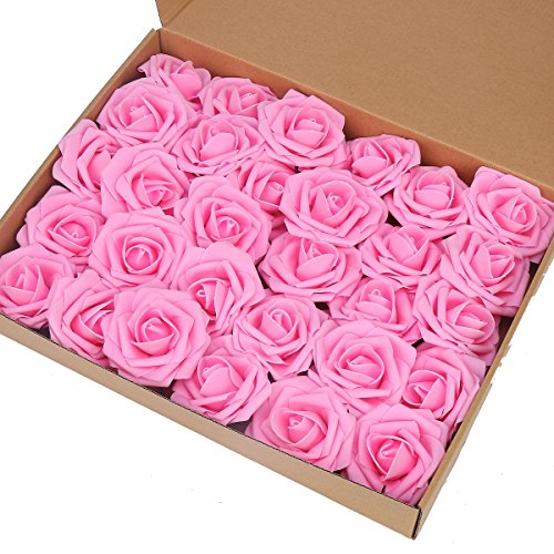 Artificial Flower Rose,Marry Acting 30pcs Real Touch Artificial Roses for DIY Bouquets Wedding Party Baby Shower Home Decor (Pink)