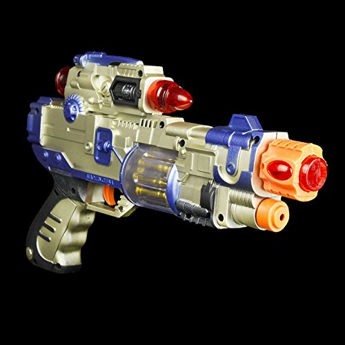Fun Central AT757 14 Inch LED Light Up Infrared Beam Blaster Toy Gun with Laser Flash- for Birthday, Christmas, Costume Party, Halloween - Party Favors, Gifts, Prizes, Rewards