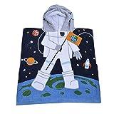 32 Yarns Long-staple Cotton Kids Hooded Poncho Towel, Astronaut Space Cute Cartoon Beach Pool Bath Towel for Boys Black Blue Gray