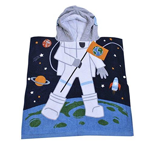 - 32 Yarns Long-staple Cotton Kids Hooded Poncho Towel, Astronaut Space Cute Cartoon Beach Pool Bath Towel for Boys Black Blue Gray