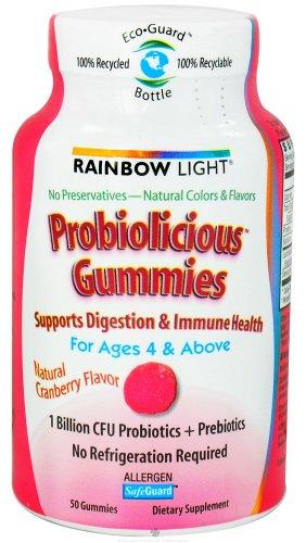 Arc-en-Gummies lumière Probiolicious, âgés de 4 et au-dessus, saveur de canneberge, 50-Count
