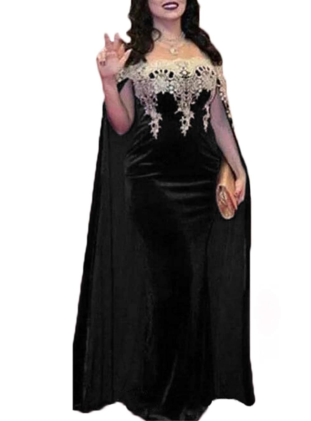 Black alilith.Z Illusion Velvet Prom Dresses Appliques Mermaid Long Formal Evening Dresses Party Gowns for Women with Cape