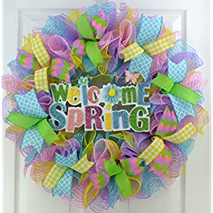 Welcome Spring Wreath | Pastel Wreath | Deco Mesh Door Wreath | Lavender Pink Turquoise Yellow 16