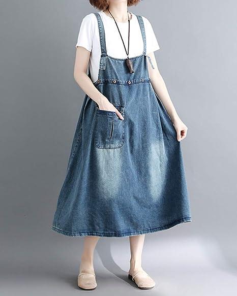 ZhuikunA Vestido Peto Vaquero Mujer Tallas Grandes Casuales Fiesta Bolsillos  A Linie  Amazon.es  Ropa y accesorios 4e4e1d17f71