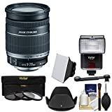 Canon EF-S 18-200mm f/3.5-5.6 is Zoom Lens with 3 Filters + Hood + Flash & Video Light + Diffuser + Soft Box + Kit for EOS 7D, 70D, Rebel T3, T3i, T5, T5i, SL1 DSLR Cameras