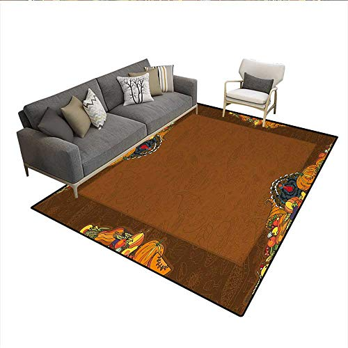 - Carpet,Basket Harvest Pumpkin Turkey Apple Pie Fruit Vegetables Desert Dinner,Indoor Outdoor Rug,Cinnamon MarigoldSize:6'x7'
