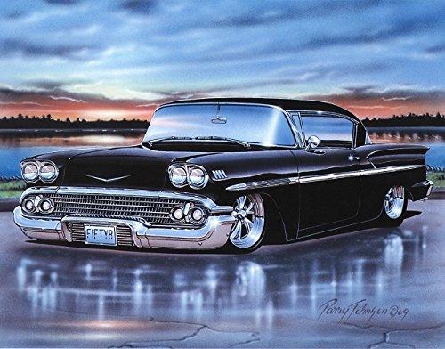 (1958 Chevy Impala 2 Door Hardtop Classic Car Art Print Black 11x14 Poster )