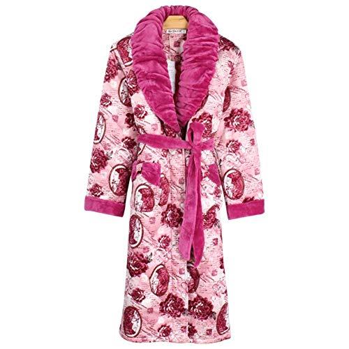 B Albornoz Mujeres Clásico Precioso Franela Camisón Acolchado Pijamas Para Invierno Engrosamiento Mujer Tres Pijama De Coral Algodón Otoño E Capas 8qCUH