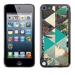 rígido protector delgado Shell Prima Delgada Casa Carcasa Funda Case Bandera Cover Armor para Apple iPod Touch 5 /Nature Polygon Sea Forest Lake/ STRONG