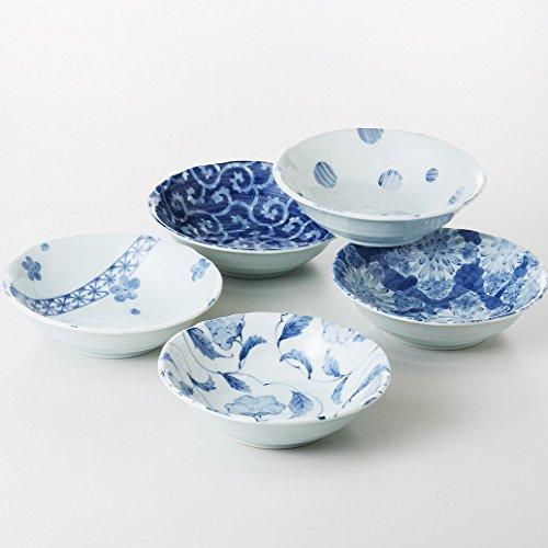 saikai pottery 5 set of Japanese Small Plate w/ 5 different blue designs 31792 from Japan by saikai