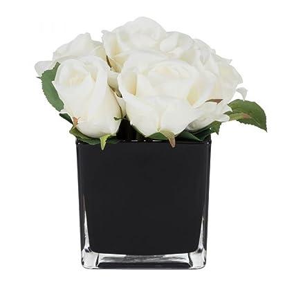 Amazon Handmade Stylish Luxury White Roses In Black Vase Potted