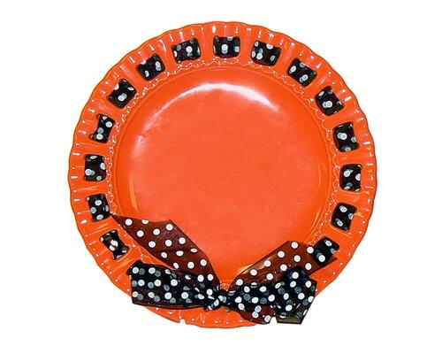 Terramoto Ceramic 10-Inch Pierced Plate with Ribbon, Orange
