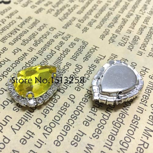 Calvas New Arrivial 10x14,13x18,18x25mm Teardrop Glass Crystal Rhinestone Pointback Droplet Sew On Rhinestone with Silver Claw Setting - (Color: Citrine, Item Diameter: 18x25mm 20pcs) ()