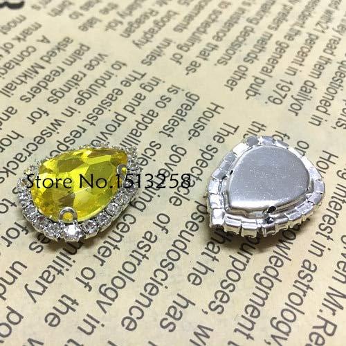 (Calvas New Arrivial 10x14,13x18,18x25mm Teardrop Glass Crystal Rhinestone Pointback Droplet Sew On Rhinestone with Silver Claw Setting - (Color: Citrine, Item Diameter: 18x25mm 20pcs))