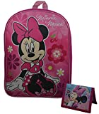 "Disney Minnie Mouse Kid's 15"" School Backpack Travel Bag w/ Bonus Minnie Mouse Wallet"