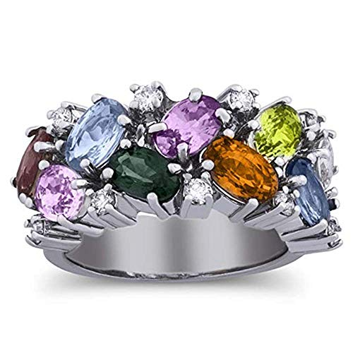 luxrygold 14K White Gold Plated 5.25 Carat Round CZ Diamond & Multi Colored Stone Fashion Ring