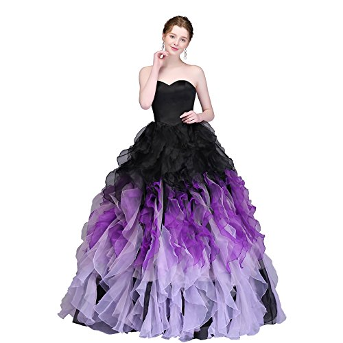 MEILIS 2016 Sweethart Ball Gown Puffy Ombre Organza Prom Dresses Long Quinceanera Black Lilac (Dress Purple Black)