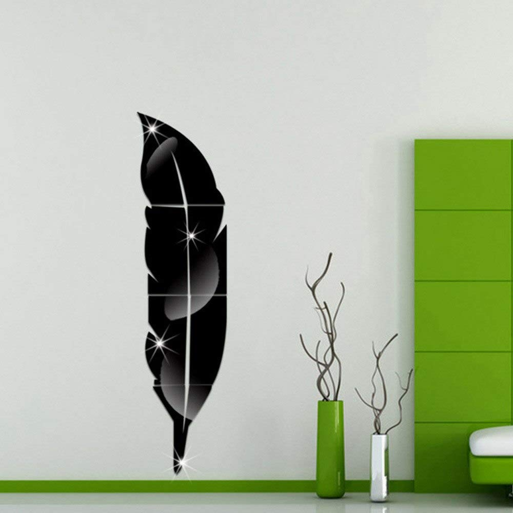 Amazon.com: Mirror Wall Stickers Home Decor Living Room Feather Diy Decals Pegatinas De Pared - Pegatinas De Pared: Kitchen & Dining