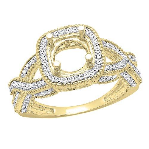0.50 Carat (ctw) 14K Yellow Gold Round Diamond Semi Mount Bridal Engagement Ring 1/2 CT (Size 6) (Yellow Gold Engagement Ring Mounting)
