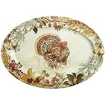 Nantucket Home Fall Thanksgiving Turkey Heavyweight Melamine Oval Serving Platter, 20-Inch x 14-Inch