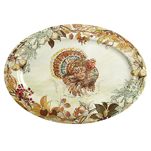 Melamine Oval Serving Platter (Nantucket Home Fall Thanksgiving Turkey Heavyweight Melamine Oval Serving Platter, 20-Inch x 14-Inch)