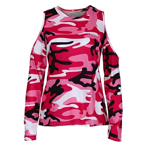 iYBUIA Women Off Shoulder Print Camouflage Long Sleeve Blouse Tops T-Shirt(Hot (Camo Logo Ringer Tee)
