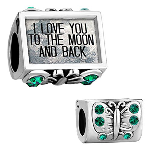 Q&Locket Jan-Dec Charms Butterfly I Love You To The Moon &Back Photo Beads For Bracelet (Green)