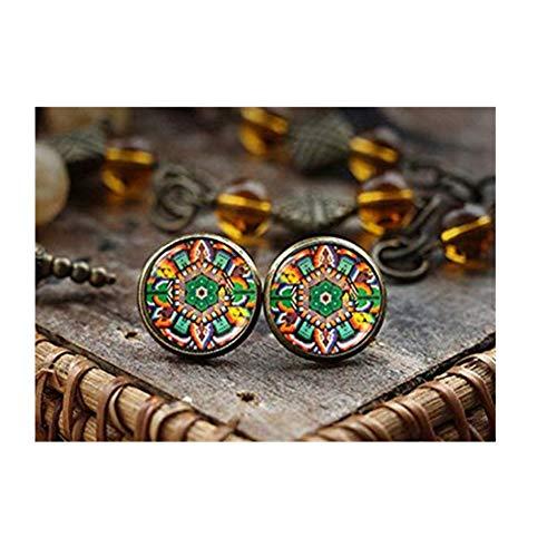 Mexican Art Stud Earrings, Mexican Folk Art, Mexican Jewelry, Mexican Earrings, Mexican Ornamental, Antique Brass Earrings