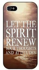 Let the spirit renew your toughts and attitudes - Sea, sun, beach - Bible verse IPHONE 5C black plastic case / Christian Verses
