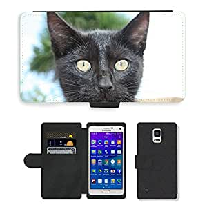Hot Style Cell Phone Card Slot PU Leather Wallet Case // M00108715 Cat Kitty Feline Cute Head Black // Samsung Galaxy Note 4 IV