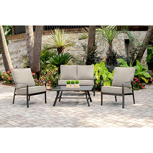 Hanover CORT4PCL-ASH Cortino 4-Piece Grade Patio Seating Set Commercial Outdoor Furniture, Cast Ash/Gunmetal - Loveseat Living Room Ash