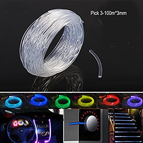 Rayauto 3mm Car Home LED Lighting Decoration Clear Side Glow Fiber Optic Cable DIY (10M & Rayauto 3mm Car Home LED Lighting Decoration Clear Side Glow Fiber ...
