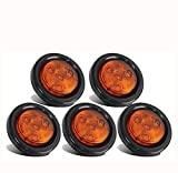 JUNGLE ROAD CAR SUPPLIES Yellow LED Marker Light - 5pcs 2'' Red Round Sealed Clearance Marker Light 4 LED Mount Grommet/Pigtails