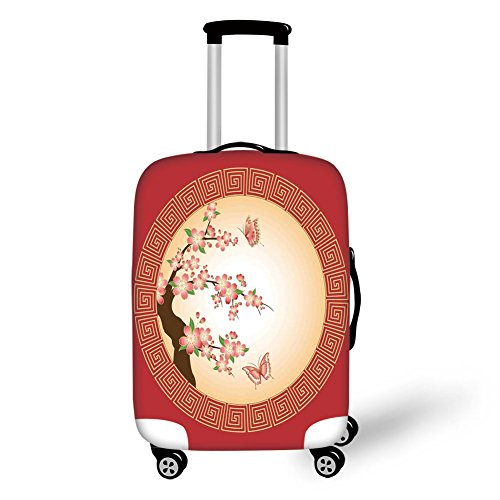 Travel Luggage Cover Suitcase Protector,House Decor,Oriental Cherry Blossom with Butterflies in Circle Frame Ornamental Illustration,Pink Red Brown,for Travel (Cherry Rockford)