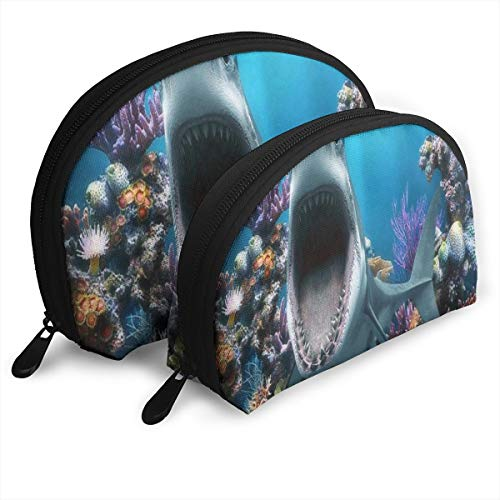 Makeup Bag Great White Shark Fishtank Portable Half Moon Clutch Pouch Bags Set Case for Women,Girls 2 Piece