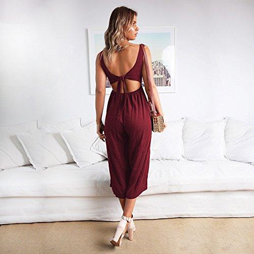 Encolure Femme En Dos Manches Combinaison Sans Larges À V Alaix nu Rouge Pour Décontractée Jambes Spaghetti w0ExFqf