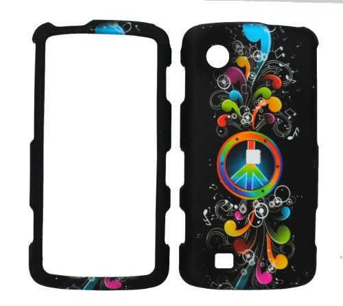 Rainbow Wave Peace Sign on Black Rubberized Snap on Cover Case for Lg Chocolate Touch Vx8575 + Belt Clip
