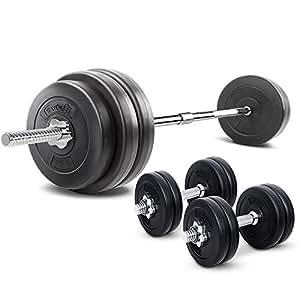 58KG Barbell Set 20KG Dumbbell Set Adjustalbe Weights Plates Home Gym Fitness Exercise Workout Training Bench Press Squat 78KG Set Everfit